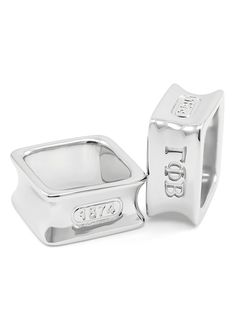 Gamma Phi Beta Sterling Silver Square Ring