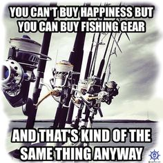A funny fishing t shirt design at: http://www.captntom.com/fishing-t-shirt-boatique/shop/3165-fishing-t-shirt-cant-buy-happiness/ - You'll find over 200 cool fishing, boating, hunting, funny and other t shirts here. Click image to comment on this design. Please Repin. #Captntom #FunnyFishing #Fishing #FishingShirts #FishingTshirts