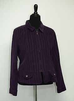 Christopher & Banks Petite Jacket P/XL New with Tags Purple Corduroy Zip-Up Cool