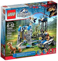 LEGO Jurassic Park Jurassic World Raptor Escape Set a double LEGO Jurassic World Raptor Escape! Set includes dino pen with minifigure trap function and feeding slot, plus an offroader.Uh-oh theres double dino trouble in Jurassic World! Lego Jurassic World, Jurassic World Raptors, Top Gifts For Boys, Toys For Boys, Kids Toys, Lego Sets For Boys, Lego Batman, Lego Marvel, Spiderman