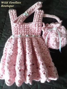 Pink Crochet Dress Headband and Purse by ShopWildFireflies on Etsy, $30.00 OH I LOVE THIS!