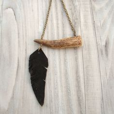 Antler Tip Necklace with Leather Feather