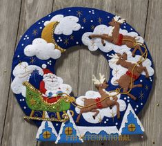 Bucilla Over The Rooftop Wreath ~ Felt Christmas Home Decor Kit Santa in Crafts, Needlecrafts & Yarn, Embroidery & Cross Stitch Christmas Wall Hangings, Felt Christmas Decorations, Felt Christmas Ornaments, Christmas Stockings, Christmas Wreaths, Christmas Cookies, Christmas Scenes, Christmas Home, Christmas Crafts