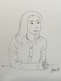 I sketched a woman using a ball-point pen.