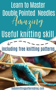 Learning to master dpn's is easier than you think. Some believe that knitting in the round means circular needles and some think that is terrifying. Knitted Dishcloth Patterns Free, Knit Dishcloth, Baby Knitting Patterns, Free Knitting, Knitting Socks, Knitting Basics, Knitting Scarves, Knitting Tutorials, Knitting Stitches