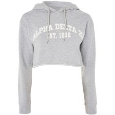 Tee & Cake Delta Crop Hoody (130 ILS) ❤ liked on Polyvore featuring tops, hoodies, grey, cropped hooded sweatshirt, hooded sweatshirt, grey crop top, grey hoodie and cotton hooded sweatshirt