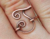 Oxidized. Copper. Letter. J. Initial. Ring.