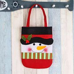 Dreamyth Reusable Fabric Christmas Gift Cloth Bag with Handles Candy Bag Xmas Home Party Decor (B) Christmas Tag, Christmas Decorations, Xmas, Candy Bags, Candy Gifts, Cloth Bags, Gift Bags, Gift Baskets, Holiday Crafts