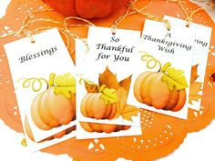 Thanksgiving Gift Tags. 10 Watercolor Pumpkin by TodoPapel on Etsy