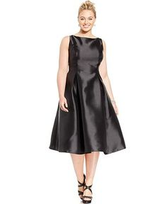 Adrianna Papell Plus Size Sleeveless Tea-Length Dress - Dresses - Plus Sizes - Macy's