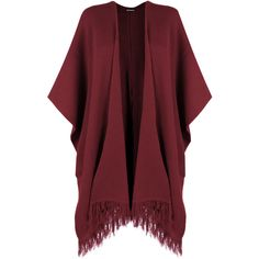 WearAll Knitted Tassle Shawl (1.090 RUB) ❤ liked on Polyvore featuring cardigans, jackets, outerwear, tops, kimono and wine