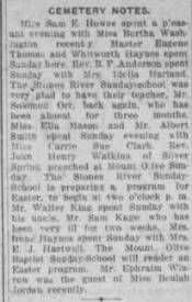 Cemetery Notes, April 5, 1912 :: Cemetery, a Freedmen's Community, Rutherford County, Tennessee