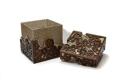 Flower Basket Box Laser Cut Walnut and Plywood Laser Cut Box, Laser Cutting, Wooden Jewelry Boxes, Wooden Boxes, Shellac Finish, Laser Cutter Projects, Laser Cut Patterns, Baltic Birch Plywood, Wood Coasters