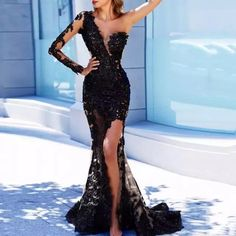 Outlet Fetching Black Prom Dresses One Shoulder Mermaid Prom Dress Black Lace Long Sleeve Prom Dresses Long Evening Dress Mermaid Evening Dresses, Tulle Prom Dress, Prom Party Dresses, Party Gowns, Occasion Dresses, Bridesmaid Dresses, Wedding Dresses, Long Mermaid Dress, Long Sleeve Evening Gowns