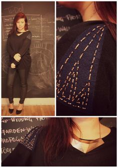 DIY Needle Felted and Hand Beaded Shoulder Embellishment to refashion a boring sweater via eat.sleep.make.