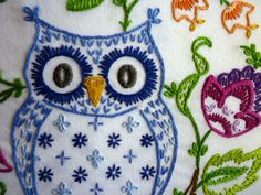 Woodland Owl Hand-Embroidery by Melys Hand-Embroidery, via Flickr
