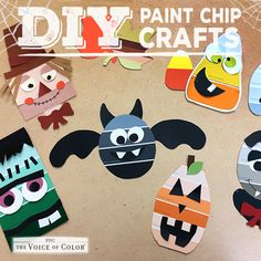 For fun halloween craft inspiration using paint chips & swatches explore project ideas at http://www.pinterest.com/voiceofcolor