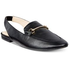 Bar Iii Opel Slingback Flats, Created for Macy's (88 CAD) ❤ liked on Polyvore featuring shoes, flats, black, bar iii shoes, metallic shoes, black slingback shoes, kohl shoes and black shoes