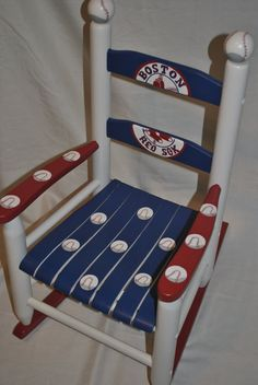 Boys Multi Sport Baseball Football Basketball Custom Hand Painted Kids Rocking Chair hand painted by onmyown14 on etsy.com