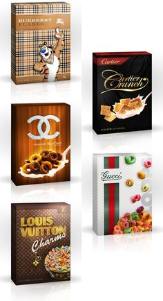 Luxury Brand Cereal Boxes - you can eat fashionably too Food Packaging, Brand Packaging, Packaging Design, Food Branding, Restaurant Branding, Branding Design, Logo Design, Graphic Design, Kids Cereal