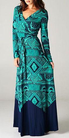 Very On Trend Paris Long Maxi Wrap Dress Aztec Emerald Navy Boho Fashion, Fashion Beauty, Fashion Outfits, Womens Fashion, Fashion Jewelry, Josie Loves, Maxi Wrap Dress, Wrap Dresses, Maxi Dresses