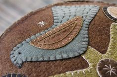 Detail if a blue bird wooly box. www.rebekahlsmith.com