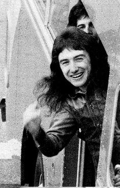 John Deacon and Freddie Mercury on their tour bus, 1974/1975.