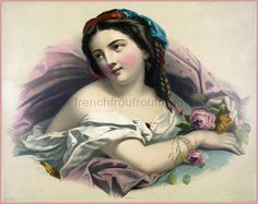 antique victorian french lithograph beautiful woman pink roses illustration DIGITAL DOWNLOAD