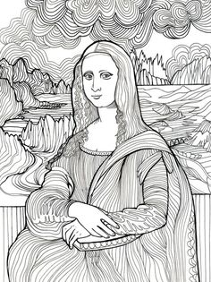 Mona Lisa coloring page Adult Coloring, Coloring Books, Coloring Pages, Art And Illustration, Art Worksheets, Famous Art, Sgraffito, Art Plastique, Teaching Art