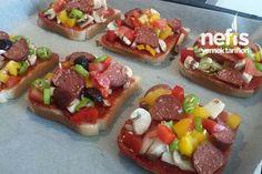 Pratik Şipşak Tost Pizzası 3 Turkish Kitchen, Bruschetta, Vegetable Pizza, Mexican, Vegetables, Ethnic Recipes, Food, Veggies, Vegetable Recipes