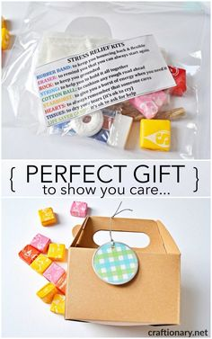 DIY stress relief gifts are basically simple & thoughtful ideas. Stress relief kits to express your care for someone stressed with free printable messages. Love Gifts, Diy Gifts, Lifesaver Candy, Survival Kit For Teachers, Stress Relief Gifts, Essential Oils For Stress, Diy Presents, Things That Bounce, Printables