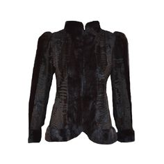 Christian Dior Fur Jacket in Black Swakara Persian Lamb with Black Mink Trim  | From a collection of rare vintage coats and outerwear at https://www.1stdibs.com/fashion/clothing/coats-outerwear/