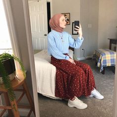 Likes, 46 Comments - Maryam🦎 Modesty Fashion, Muslim Fashion, Modern Hijab Fashion, Stylish Hijab, Hijab Chic, Midi Skirt Outfit, Skirt Outfits, Modele Hijab, Hijab Fashion Inspiration