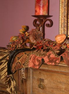 This Chocolate Brown Velvet And Terracotta Chenille Table Runner With Faux  Mink And Beading Accents Is The Perfect Old World Tuscan Home Decor Piecu2026