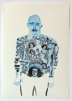 """Tattoo Man"" by Rachel Gannon  A3 Risograph on 120 gsm Munken Pure Edition of 100, signed and numbered £20  Bolt Editions"