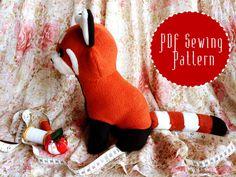 Red Panda Plush Stuffed Animal Sewing Pattern PDF by PixiePlushies, £5.00
