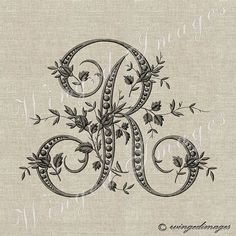 Antique French Monogram Letter R Instant Download Digital Image No.234 Iron-On Transfer to Fabric (burlap, linen) Paper Prints (cards, tags)