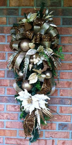 Christmas Swag with animal print ribbon by LisasLaurels on Etsy Merry Christmas, Christmas Swags, Xmas Wreaths, Christmas Door, Victorian Christmas, Outdoor Christmas, Rustic Christmas, Christmas Holidays, Christmas Decorations