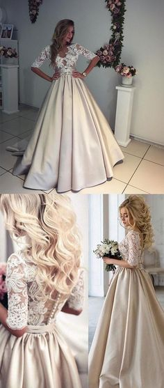 UNIQUE CHAMPAGNE A-LINE V NECK HALF-SLEEVE LACE SATIN PROM DRESS CHAMPAGNE WEDDING DRESS #prom #dresses #longpromdress #promdress #eveningdress #promdresses #partydresses #2018promdresses #ballgown #eveninggown #promgown