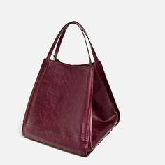 #Zara #Tote #Bordeaux #Leather