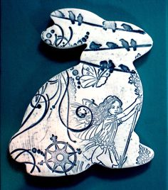 Fairy Watchers - Ceramic Rabbit Wall Hanging