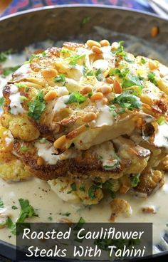Aug 2019 - Roasted Cauliflower Steaks with Tahini and Pine Nuts. A delicious vegetable centered entree that even meat lovers will enjoy! Roasted Cauliflower Steaks, Vegan Cauliflower, Cauliflower Recipes, Cauliflower Cakes, Tahini, Vegetarian Recipes, Cooking Recipes, Healthy Recipes, Vegetable Recipes