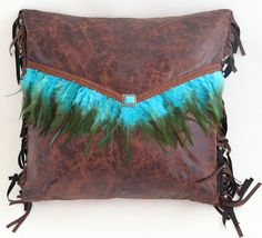 Mojave Sunset Turquoise Feather Env Pillow
