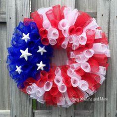 American Flag Wreath, Patriotic Mesh Wreath, Memorial Day Wreath, July 4th Wreath, Summer Wreath, USA Wreath, Red, White, and Blue Wreath