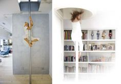16 Radical Kids' Climbing and Sliding Spaces by Alexa Hotz on the Remodelista blog Kids Climbing, Indoor Climbing, Climbing Rope, Indoor Slides, Indoor Play Areas, Kids Room Design, Kid Spaces, Living Spaces, Best Interior