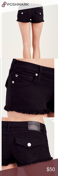 💗NWT Joey Cut Off True Religion Shorts Brand New Joey Cut Off Black Flap Back Shorts! Brand New from True Religion, 💯% Authentic! Selling at a Great Price, Retails for almost $200! True Religion Shorts