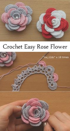 Crochet Rose Flower Patterns For Beginners Crochet Jewelry Patterns, Crochet Square Patterns, Crochet Designs, Crochet Patterns Amigurumi, Crochet Flower Tutorial, Crochet Instructions, Crochet Gifts, Easy Crochet, Knitted Flowers