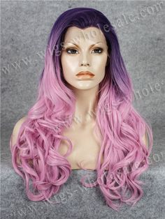 55.00$  Buy here - http://aim9h.worlditems.win/all/product.php?id=32675773765 - Halloween Party Wig  Long Wavy Cosplay Wig Purple Mixed Pink Synthetic Lace Front Wig Free Shipping