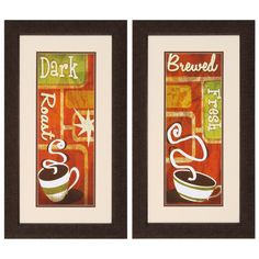 Retro Coffee 2 Piece Framed Graphic Art Set
