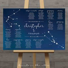 Constellation wedding table plan celestial wedding seating chart zodiac reception table stars seating plan space night sky DIGITAL by HandsInTheAttic